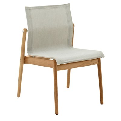 Sway Teak Stacking Chair - Buffed Teak (White / Seagull)