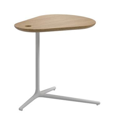 Trident Side Table - Buffed Teak Top (White)