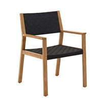 1810NB Maze Dining Chair with Arms - Buffed Teak (Noir Strap)