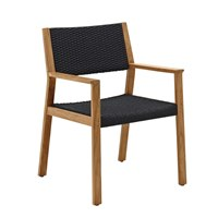 1811FB Maze Dining Chair with Arms - Buffed Teak (Flint Rope)