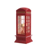 480972 LED Santa in Glitter Telephone Booth