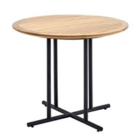 7510MB Whirl 90cm Round Dining Table - Buffed Teak Top (Meteor)