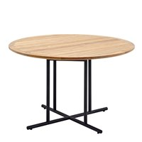 7520MB Whirl 120cm Round Dining Table - Buffed Teak Top (Meteor)