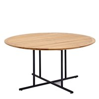 7530MB Whirl 150cm Round Dining Table - Buffed Teak Top (Meteor)