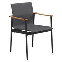 9401MAN 180 Stacking Chair with Arms - Leather Arms (Meteor / Anthracite)